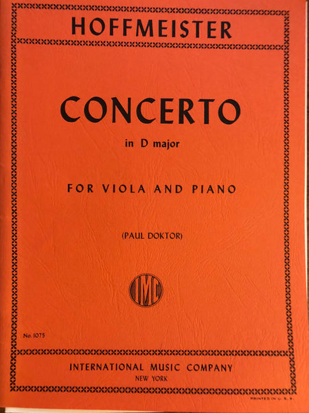 Hoffmeister, Concerto in D Major for Viola and Piano