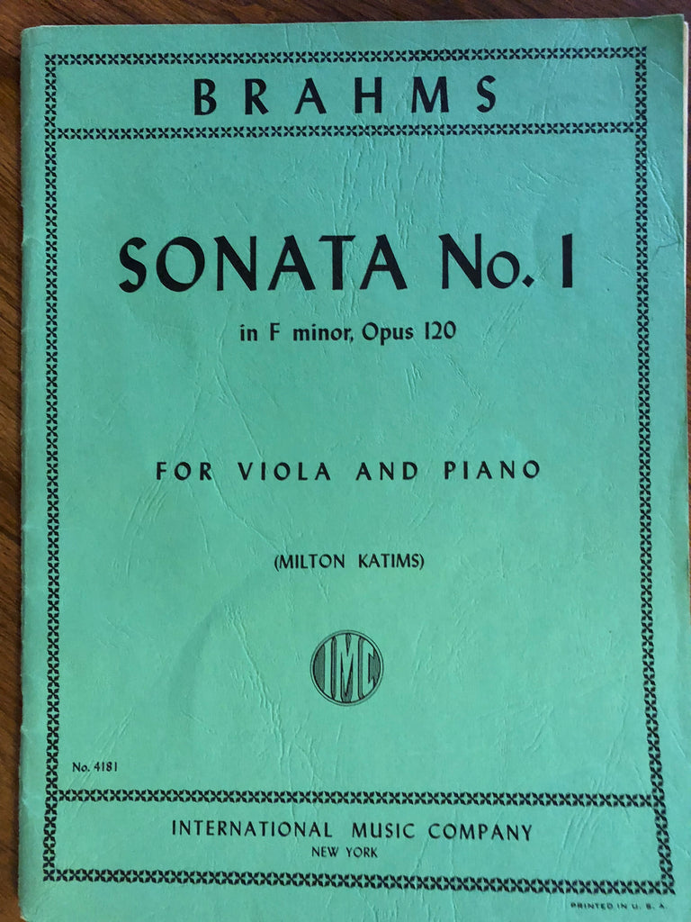 Brahms, Sonata No. 1 in F minor for Viola and Piano