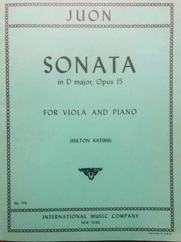 Juon, Sonata in D Major Op. 15 for Viola and Piano