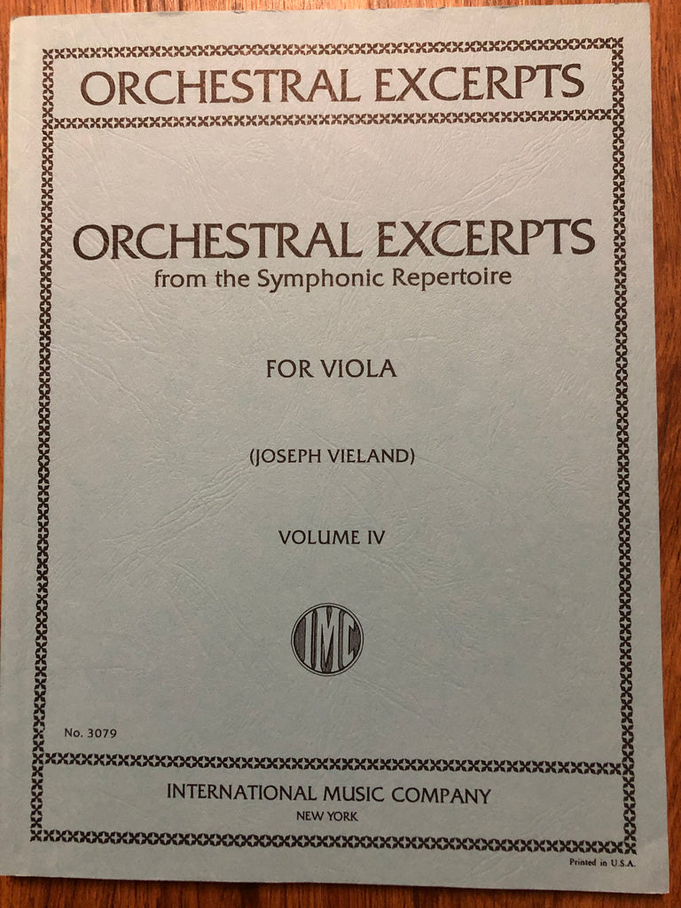 Vieland, Orchestral Excerpts for Viola, Volume IV