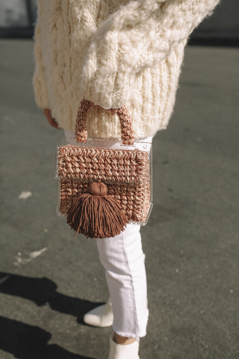 Greta Crochet Bag - Brown