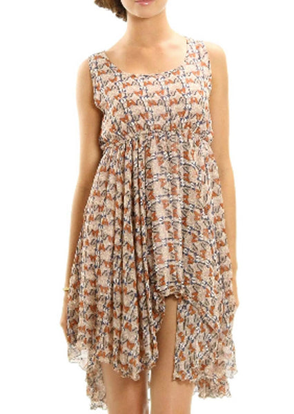 Butterfly Printed Sleeveless Dress