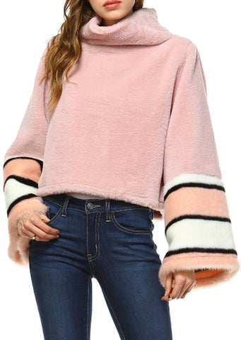 Cowl Neck Bell Sleeve Faux Fur Top