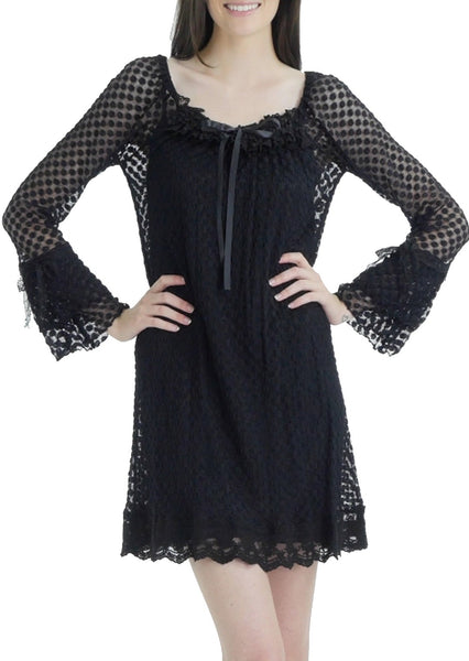 Bubble Dot Dress with Flared Sleeves
