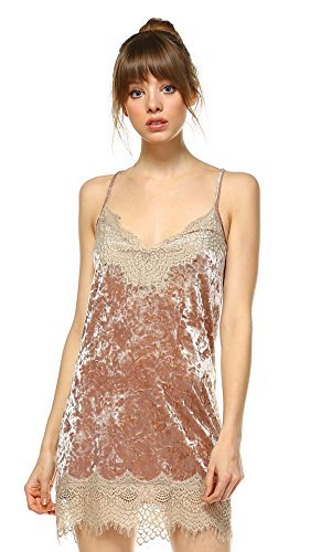 Women's Lace V Neck Velvet Full Slip Dress - Shop Lev
