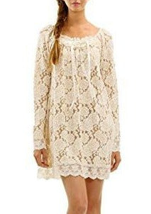 Women's Floral Lace Long Sleeve Mini Dress for Special Occasion - Shop Lev