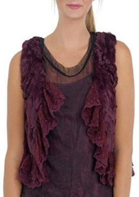 Faux Fur Mini Bolero Vest with Lace Around - Shop Lev