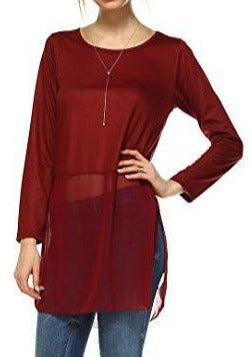 Women's Long Sleeve Round Neck Top Extender with Sheer Chiffon Bottom - Shop Lev