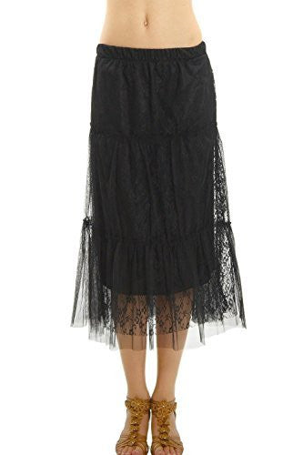 Women Tiered Lace Mesh Long Skirt with Raw End - Shop Lev