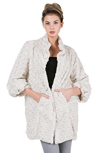 Women's Faux Fur Rose Half Coat Jacket with China Collar - Shop Lev