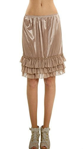 Women's Satin Half Slip Skirt Extender with three tiered Ruffle Hem - Shop Lev