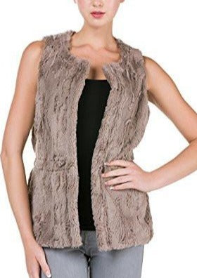 Women's Round Neck Faux Fur Short Open Vest - Shop Lev