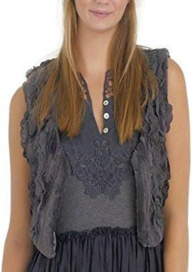 Faux Fur Lace Trimmed Mini Bolero Vest - Shop Lev