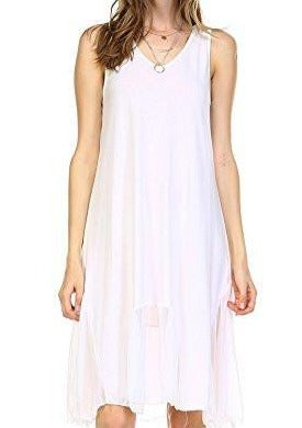 Women's Flare Tank Full Slip Dress with Sheer Scoop Bottom - Shop Lev