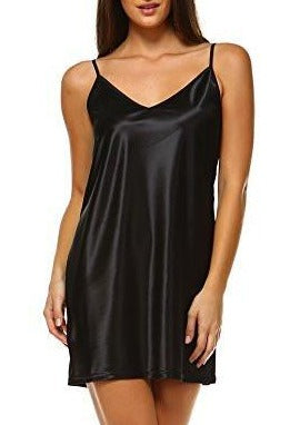 V Neck Basic Satin Full Slip with Adjustable Straps - Shop Lev