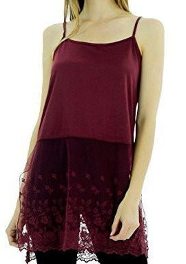 Women's Cotton Top Extender Camisole Layering Top with Lace Sheer Bottom - Shop Lev