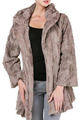 Women's Faux Fur Jacket with Synthetic Swede Belt and Flare Sleeves - Shop Lev