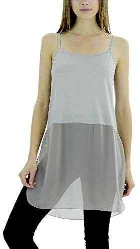 Women's Basic Knit Slip Top with Sheer Bottom and spagehtti Straps - Shop Lev