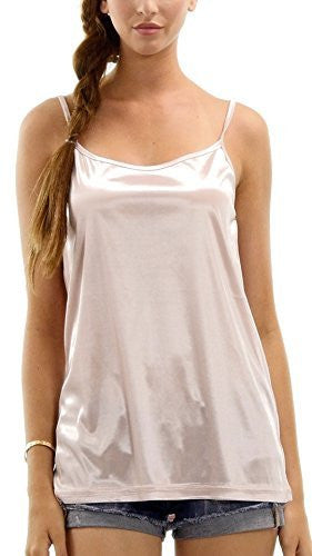 Women's Basic Satin Camisole Full Slip Top - Shop Lev