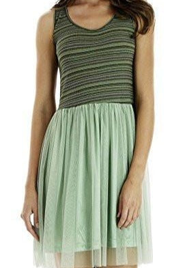 Striped Ribbed Tank Slip Dress with Mesh Skirt - Shop Lev
