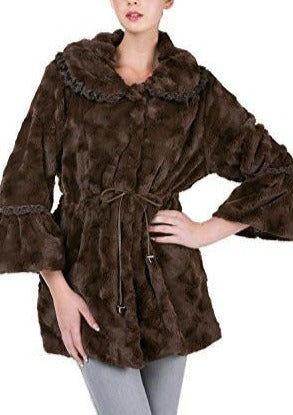 Women's Faux Fur Jacket Coat with Lace Trim - Shop Lev