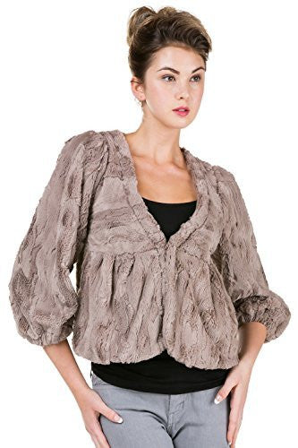 V Neck Faux Fur Jacket with Three-quarter Sleeve - Shop Lev