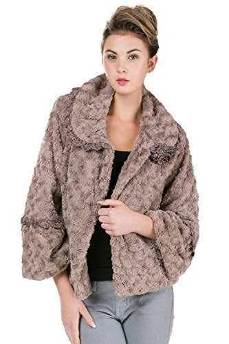 Women's Faux Fur Rosette Jacket with Handmade Corsage - Shop Lev