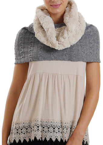 Faux fur Neck Warmer with Shoulder Covered Cable Knit Capelet - Shop Lev