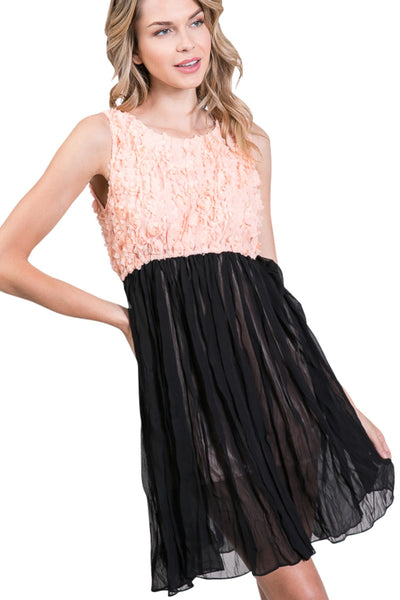 Flower embellished highwaist chiffon dress - Shop Lev