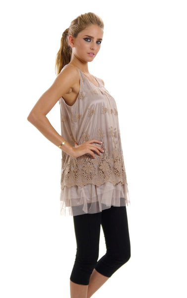 Women Lace and Mesh Mixed Sleeveless Tank Top - Shop Lev