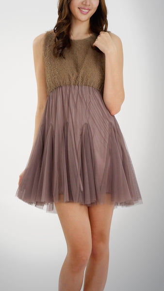 Fluffy Top and Mesh Bottomed Sleeveless Mini Dress - Shop Lev