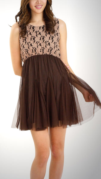 Sleeveless Sheer Lace Body Dress with Mesh Skirt - Shop Lev