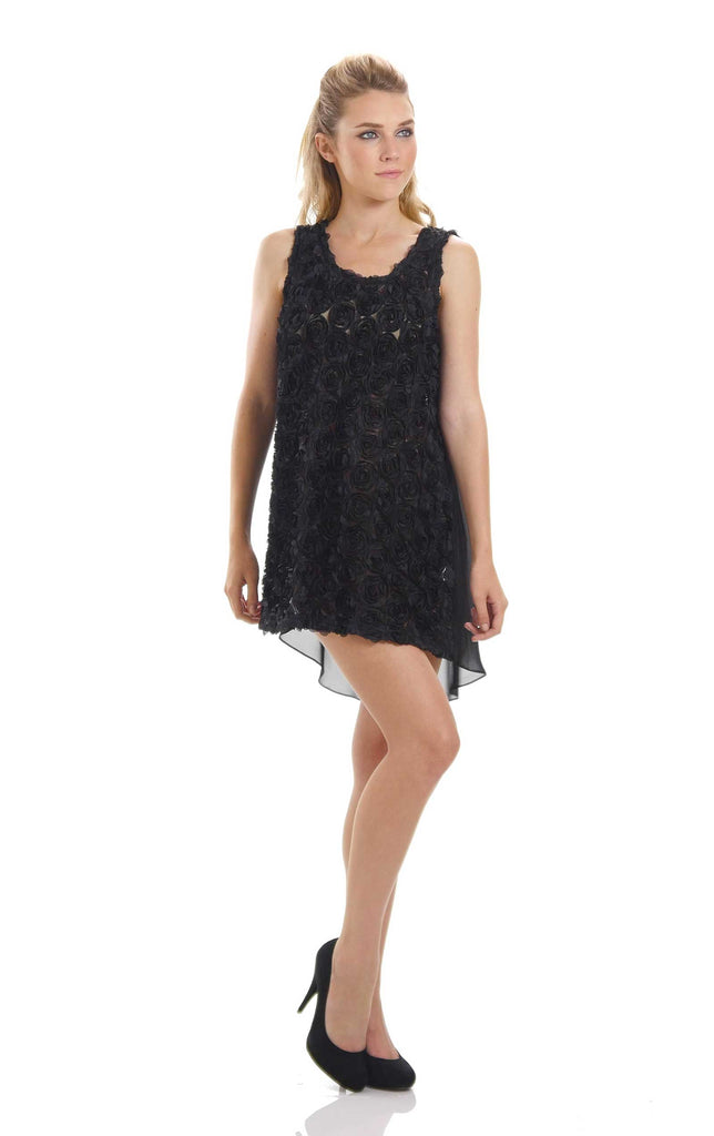 Flower Embellished Pullover Sleeveless Mini Dress - Shop Lev