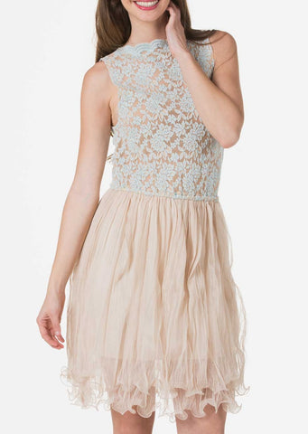Embossed Lace Midi Dress with Crinkled Mesh Skirt - Shop Lev