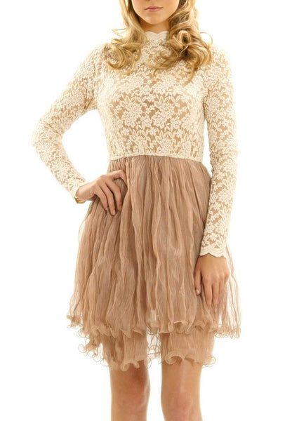Embossed Lace Long Sleeve Dress with Crinkled Double Mesh Skirt - Shop Lev