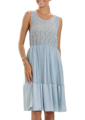 Lace See-through Top with Mesh Skirt Dress - Shop Lev