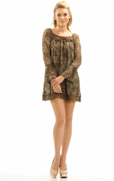 Women's Lace Mesh See-through Long Sleeve Dress - Shop Lev