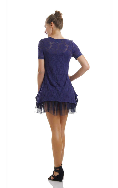Lace Short Sleeve Dress with Mesh Slip - Shop Lev