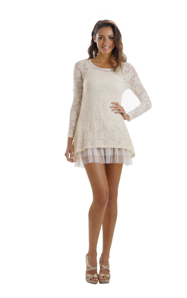 Lace Long Sleeve Tunic with Mesh Slip - Shop Lev