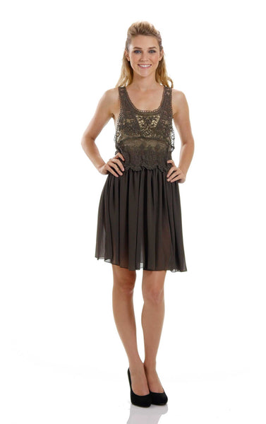 Women's See-through Cotton Lace Top with Midi Skirt Dress - Shop Lev