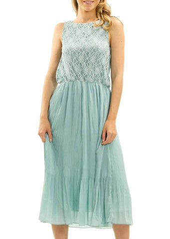 Women's Lace Top with Pleated Skirt Midi Dress - Shop Lev