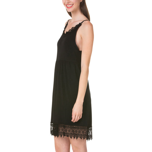 Modal Flare Lace Trim Slip Dress with Adjustable Straps - Shop Lev
