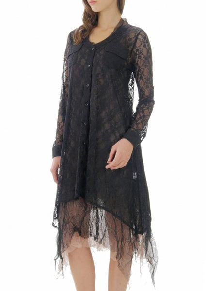 Lace A line see-through shirt Tunic - Shop Lev