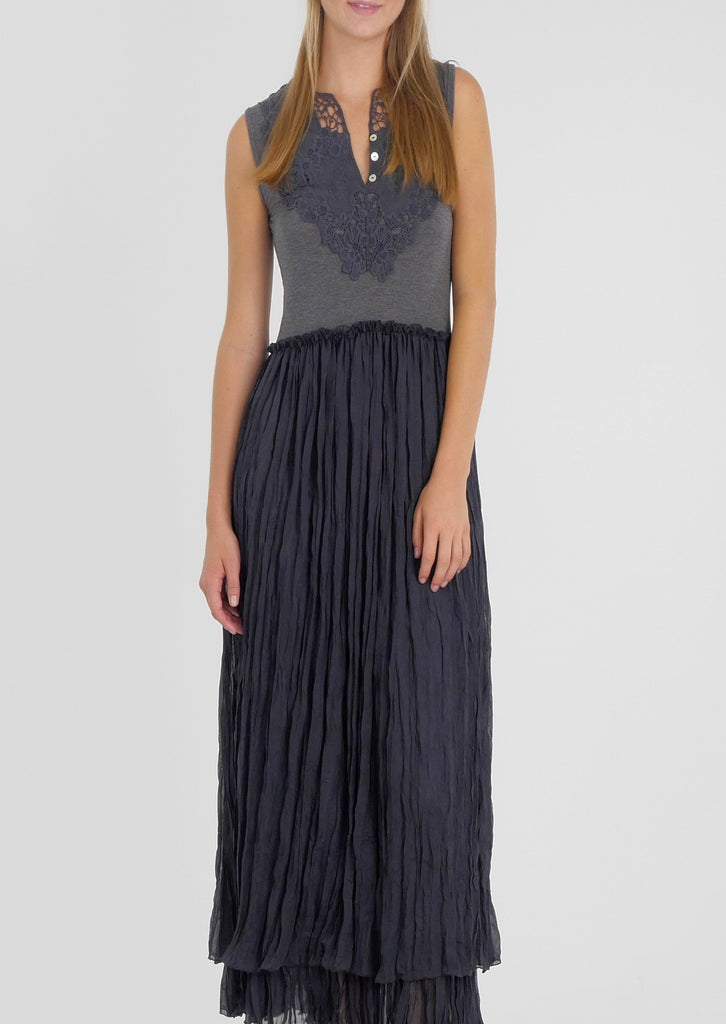 Maxi Chiffon Tank Dress with Lace Patch - Shop Lev
