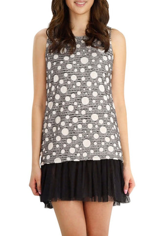 Polka Dot Sleeveless Tunic Dress with Mesh Finish - Shop Lev