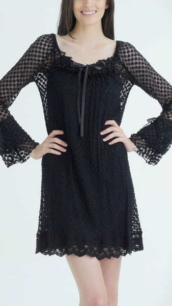 Bubble Dot Dress with Flared Sleeves - Shop Lev