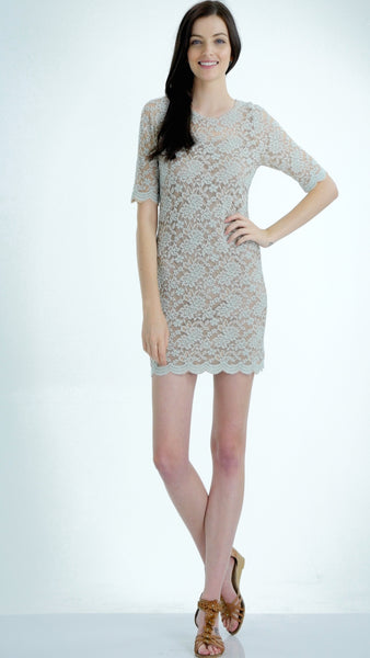 Sheer Lace Bodycon Quarter Sleeve Tunic Dress - Shop Lev
