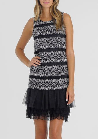Stripe Lace Dress with Mesh Bottom - Shop Lev