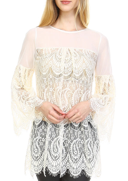 Women See-through Lace Swing Flare Long Sleeve Top - Shop Lev