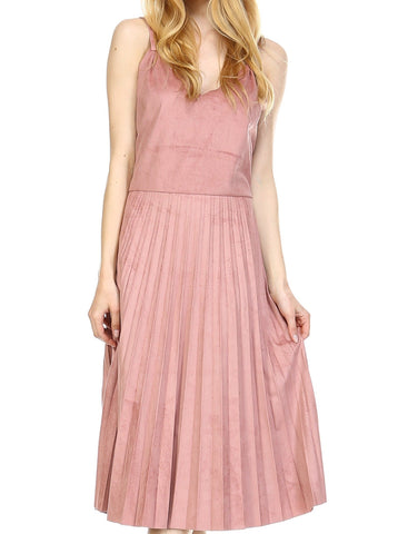 V Neck Swede Pleated Dress - Shop Lev